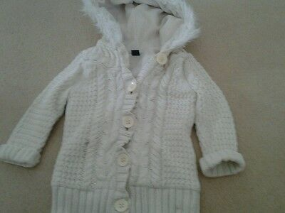 Girls Clean Linned Aran Jacket With Hood From Gap Age 3