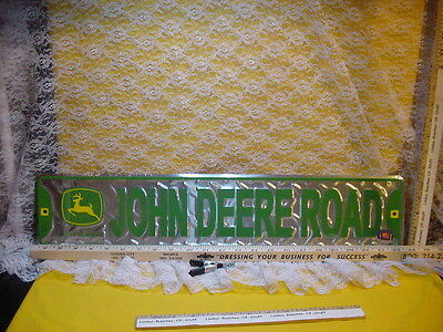 "John Deere Yellow 2 Legged Emblem JOHN DEERE ROAD 24x5"" Diamond Plate Metal Sign"