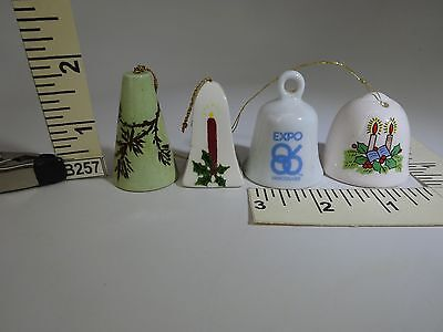 4 Miniature Bells No Handles 2-Candle 1-Pine Needles 1-Vancouver Expo B257