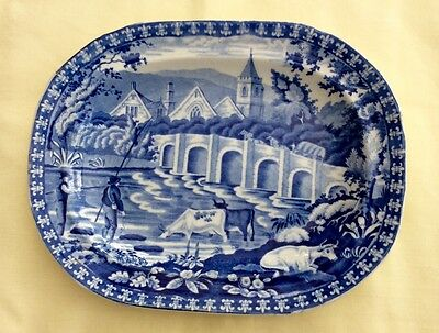 BLUE & WHITE TRANSFER WARE SMALL PLATE/DISH c. 1822 J & W HANDLEY