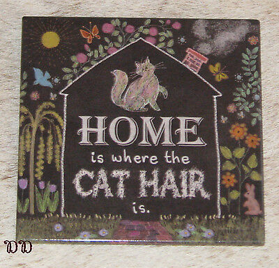 """LEANIN TREE """"Home Is Where The Cat Hair Is."""" Magnet ~ 2.5"""" x 2.5"""" ~ #26486 ~"""