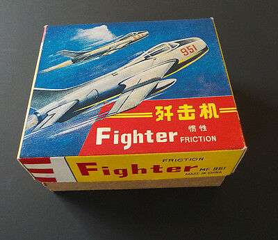 1960s MF 951 CHINESE CHINA TIN TOY MIG JET FIGHTER FRICTION EXCELLENT & BOXED