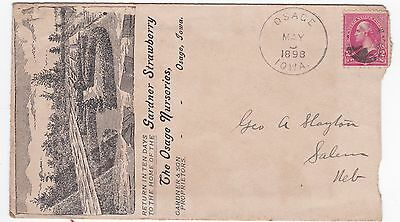 Osage iowa Straberry Nursery 1898 Advertising cover With Letter