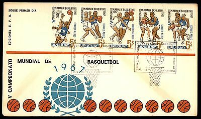 Basketball Championships 1967 Pictorial Fdc Strip Of 5