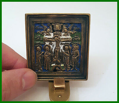 Russia orthodox bronze icon The Crucifixion.  Enameled! 19th. cen.
