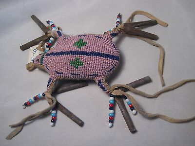North American Beaded Leather Turtle Fetish, Northern Plains Amulet...co-361