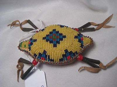 North American Beaded Leather Turtle Fetish, Northern Plains Amulet...co-170