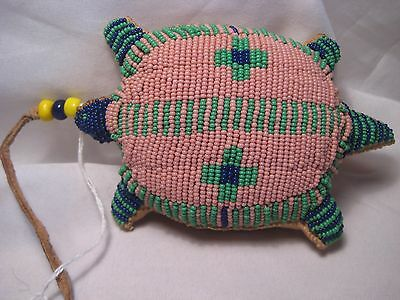 North American Beaded Leather Turtle Fetish, Northern Plains Amulet...co-363