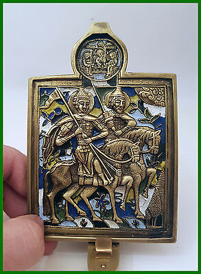 Russia orthodox bronze icon Saints Princes Boris and Gleb.  Enameled! 19th. cen.