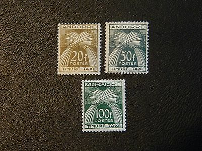 French Andorra Stamp SG F D150/152 top 3 values LMM postage dues Timber-Taxes.
