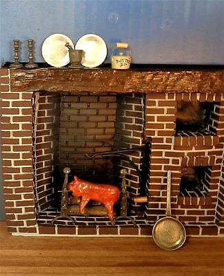Dollhouse Pig On A Spit In A Colonial Fireplace, Andirons With Spit Hooks, Rare