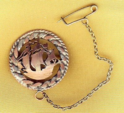 Antique Victorian Metal Wreath with Galleon Sailing Ship Brooch Pin