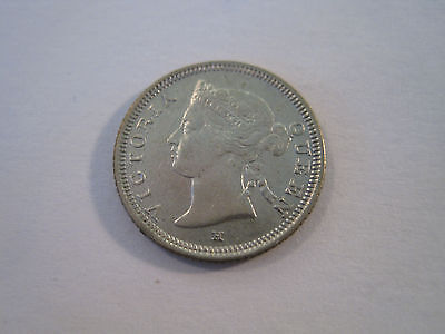Scarce! Nice 1882 H Straits Settlement 5 Five Cent Coin *4704