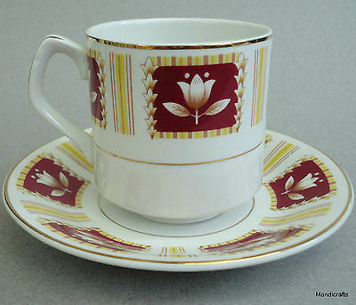 Wood & Sons Tea Cup & Saucer Set Tulip on Red Squares Alpine White Ironstone UK