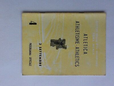 Rome Olympic Games 1960 Athletics Programme September 3