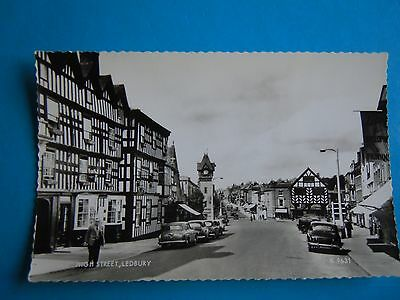 Old Post Card Herefordshire Ledbury High Street Feathers Hotel Transport Cars RP