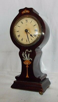 UNUSUAL Shaped BALLOON Inlaid MAHOGANY Clock With HAC Movement ANTIQUE Elegant