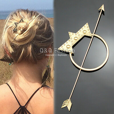 Victorian Polish Gold Dot Triangle Hoop French Updo Hair Pin Clip Dress Stick