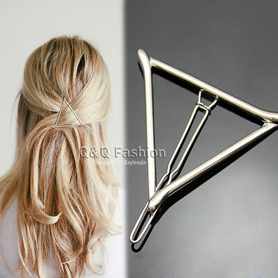 Fab Silver Cut Out Triangle Bar French Updo Hair Pin Clip Dress Snap Barrette