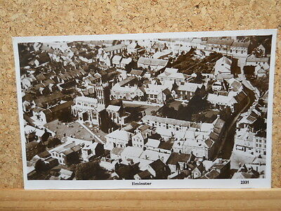 Vintage Real Photographic Postcard, Ilminster, from the Air