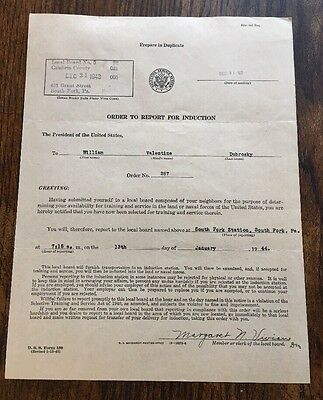 Selective Service 1943 Order To Report 4 Induction Cambria County WWII Draft PA