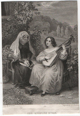 THE EVENING HYMN / HARP-LUTE - ORIGINAL 19th CENTURY ANTIQUE ENGRAVING c1800s