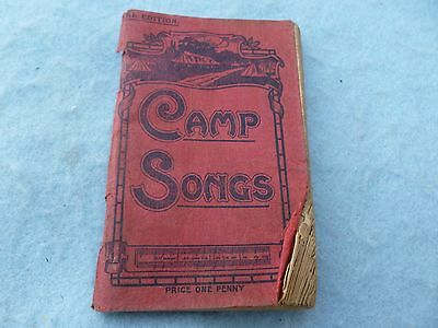 WWI British Camp Song Book His Majesty's Forces YMCA Popular Hits WW1