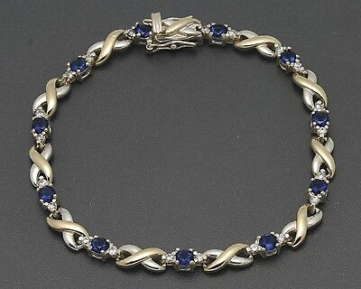 """Ross Simons 7-1/4"""" Two-Tone Sterling Simulated Sapphire & CZ Tennis Bracelet"""