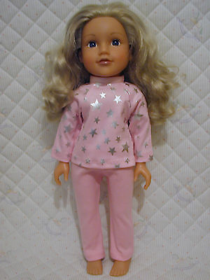 18in DOLLS CLOTHES to fit DESIGNA FRIEND - STARRY NIGHT PINK PYJAMAS