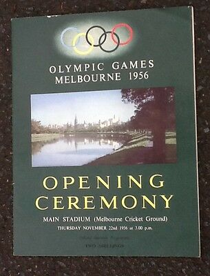 Melbourne Olympic Games 1956 Opening Ceremony Programme.