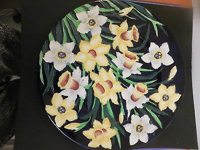Antique Maling Ware England Majolica Embossed 'Daffodil' Wall Plaque