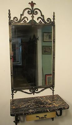 Vintage Mirror and shelf with drawer in Spanish or Mediterranean Style