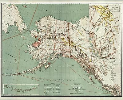 """1898 Map of Alaska with inset """"Juneau to Forty Mile Creek""""---Gold !"""