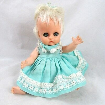 "Vogue Ginnette Baby Doll 8"" Drink Wet in Tagged Dress Rooted Platinum Hair c1964"