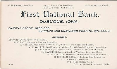Rare 1892 Business Card Statement Condition First National Bank Dubuque Iowa Ia