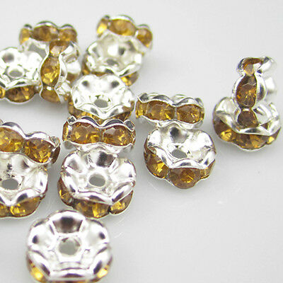 NEW  for jewelry 100pcs 8MM Plated silver crystal spacer beads Amber ZY1