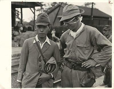 WWII Liberated US Soldier & Japanese Guard -Narumi Daito Electric Steel POW Camp