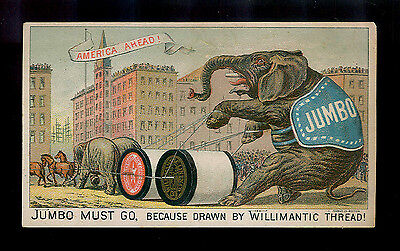 Jumbo The Elephant Must Go-1880s Victorian Trade Card-SALE
