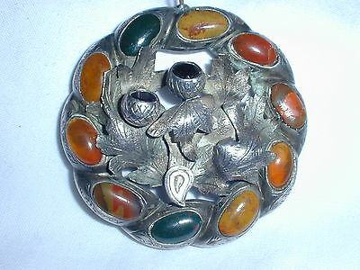 Antiue 1800's Scottish Sterling Agate Pendant- As Is!