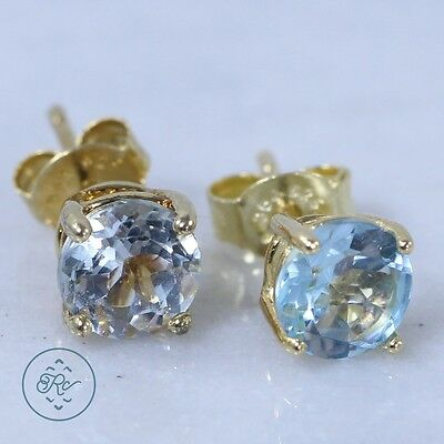 Sterling Silver 18K Gold - VICTORIA TOWNSEND Blue Topaz - Stud Earrings