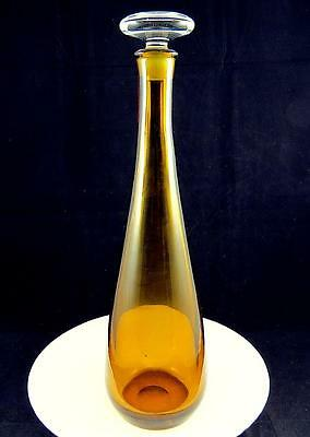 "Scandinavian Art Glass Clear Base Large Amber 15 3/4"" Heavy Crystal Decanter"