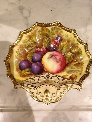 Antique Aynsley Orchard Gold Shell Shaped Dish Unusual Signed