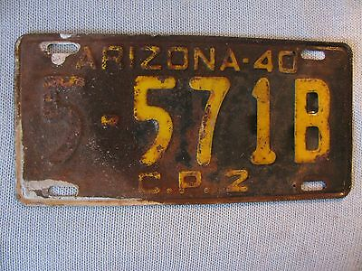 1940 Arizona Commercial License Plate   # 5 571B