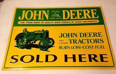 "JOHN DEERE Two Cylinder Tractors Sold Here Metal Tin Sign 15-3/8"" x 11"""