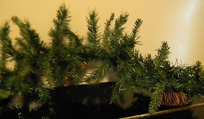 8' Long Stiff Wire Christmas Green Pine Garland Greenery Holiday Decoration