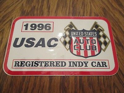 Original 1996 USAC Registered Race Car Decal  Indy 500