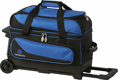 Ebonite Transport 2 Ball Roller Bowling Bag with Wheels Color is Blue