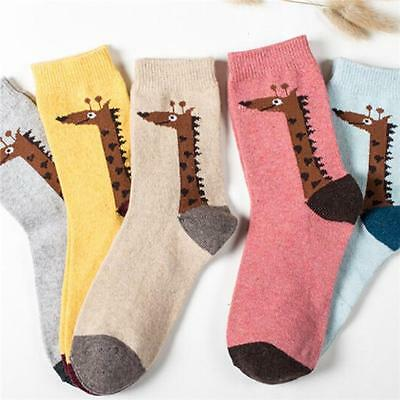 Women's Winter Warm Wool Blend Animal Everyday Socks Giraffe Bear Rabbit - CB