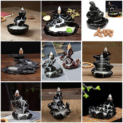 Ceramic Backflow Incense Burner Porcelain Censer Buddhist Cones Tower Holder