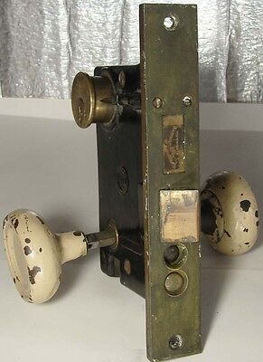 ANTIQUE PENN Large WORKING LOCK for DOOR with 2 Knobs, Thick BRASS Strike PLATE